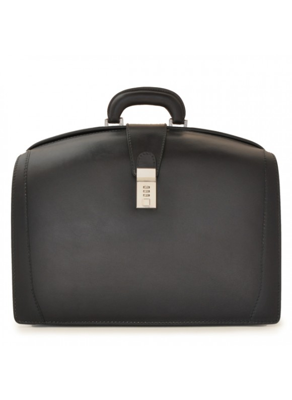 Pratesi Briefcase for Laptop Brunelleschi Bold in cow leather - Bruce Black