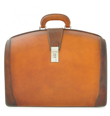 Pratesi Briefcase for Laptop Brunelleschi Bold in cow leather - Bruce Cognac