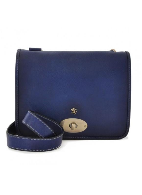Pratesi Cross-Body Bag Portalettere Small in cow leather - Bruce Blue