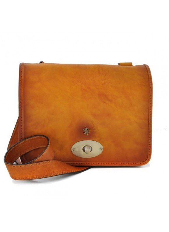 Pratesi Cross-Body Bag Portalettere Small in cow leather - Bruce Cognac