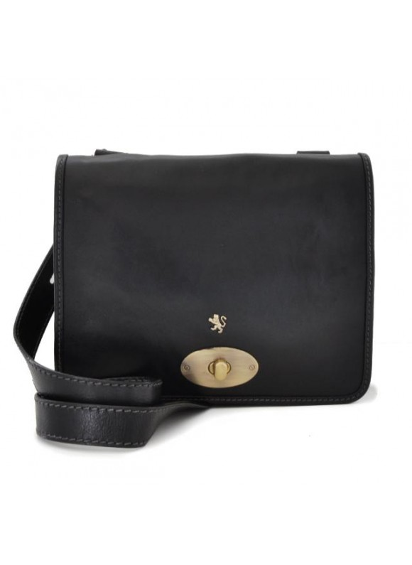 Pratesi Cross-Body Bag Portalettere Small in cow leather - Bruce Black