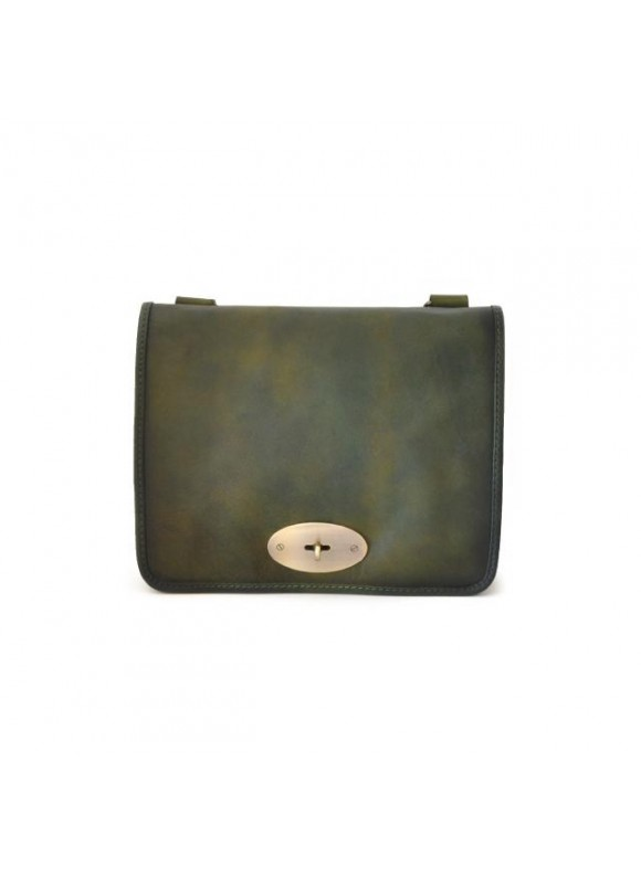 Pratesi Cross-Body Bag Portalettere Small in cow leather - Bruce Dark Green