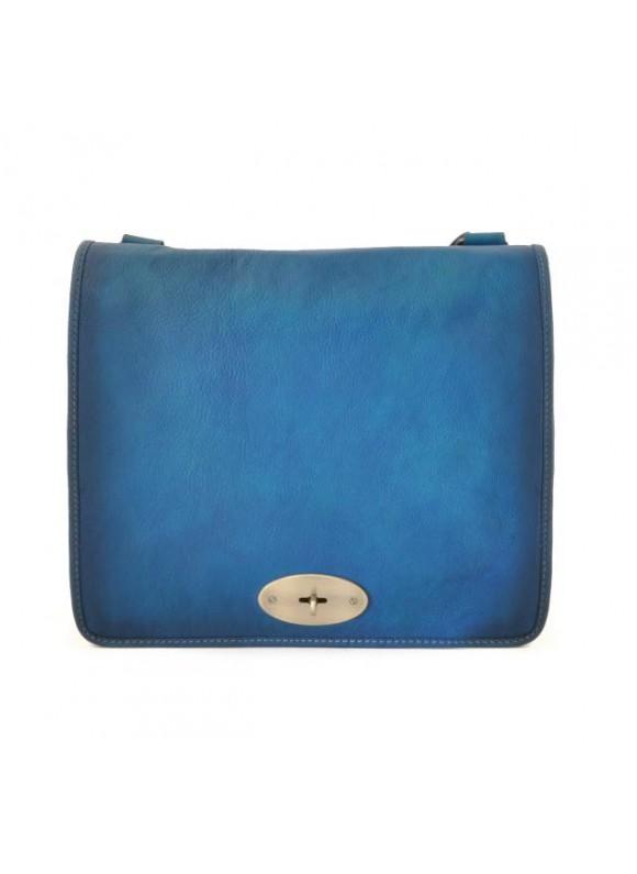 Pratesi Cross-Body Bag Portalettere in cow leather - Bruce Blue