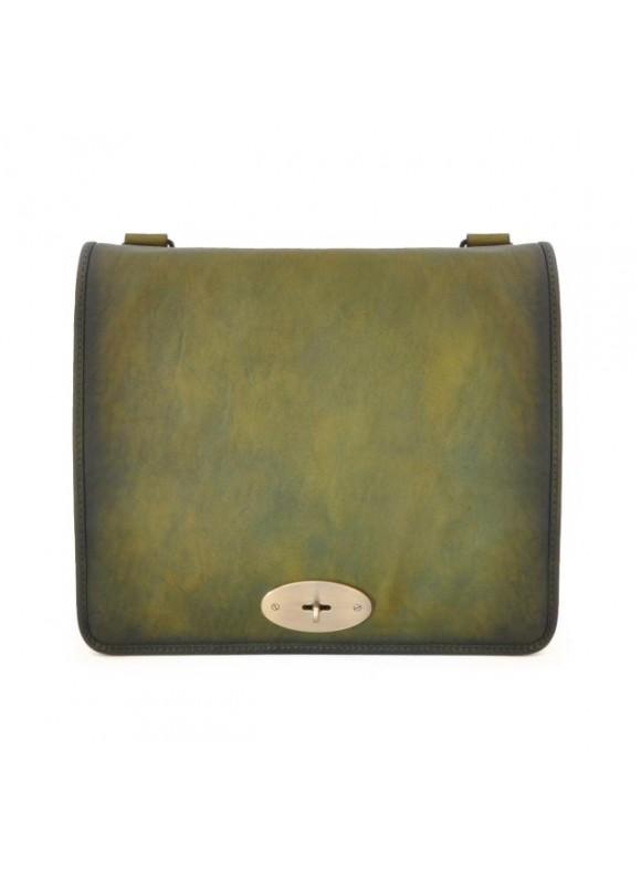 Pratesi Cross-Body Bag Portalettere in cow leather - Bruce Dark Green