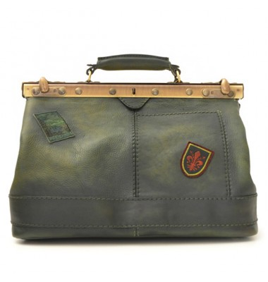 Pratesi Handbag San Casciano in cow leather - Bruce Dark Green
