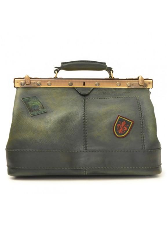 Pratesi Handbag San Casciano in cow leather - Bruce Dark Green