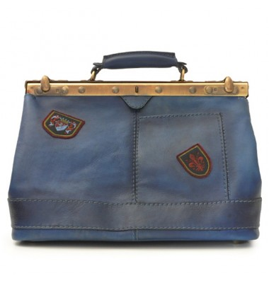 Pratesi Handbag San Casciano in cow leather - Bruce Blue