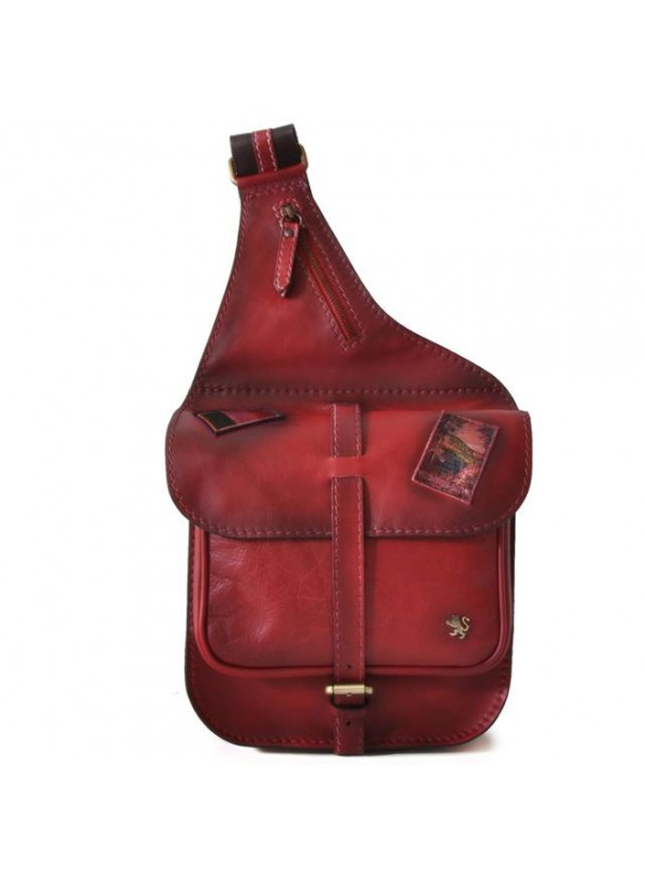 Pratesi Bisaccia Small Cross-Body Bag in cow leather - Bruce Cherry