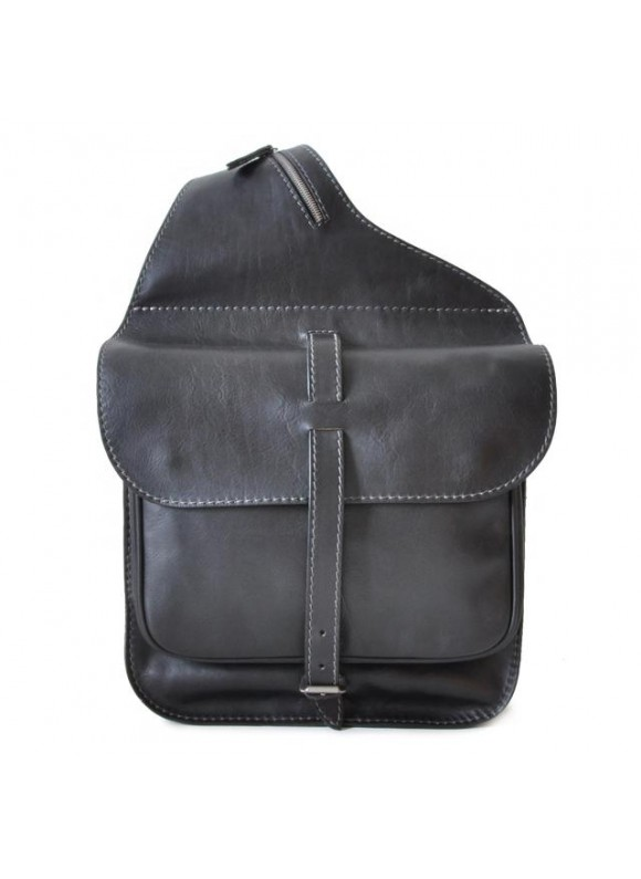 Pratesi Bisaccia Cross-Body Bag in cow leather - Bruce Black
