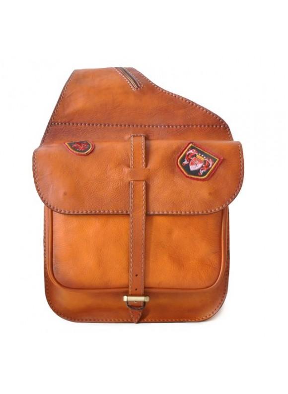 Pratesi Bisaccia Cross-Body Bag in cow leather - Bruce Cognac