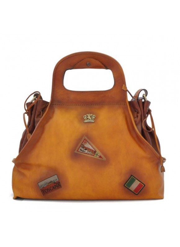 Pratesi Handbag Gaiole in cow leather - Bruce Cognac
