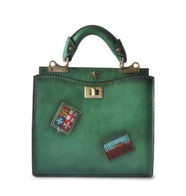 'Pratesi Lady Bag Anna Maria Luisa de'' Medici Small in cow leather - Bruce Emerald'