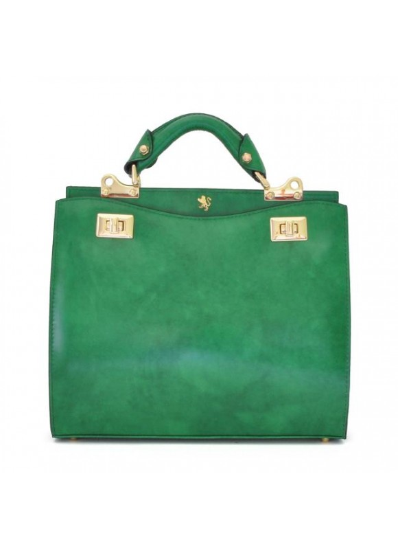 'Pratesi Anna Maria Luisa de'' Medici Medium Lady Bag in cow leather - Radica Emerald'