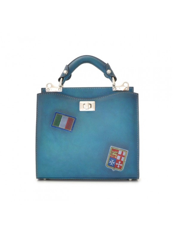 'Pratesi Lady Bag Anna Maria Luisa de'' Medici Small in cow leather - Bruce Blue'