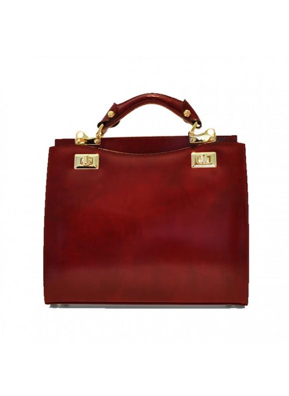 'Pratesi Anna Maria Luisa de'' Medici Medium Lady Bag in cow leather - Radica Chianti'