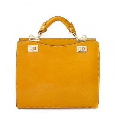 'Pratesi Anna Maria Luisa de'' Medici Medium Lady Bag in cow leather - Radica Mustard'