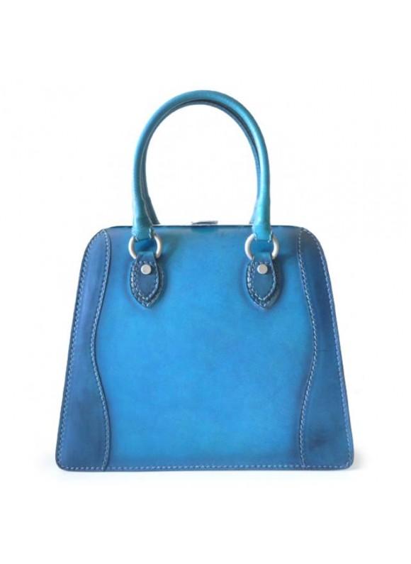 Pratesi Handbag Saturnia Big in cow leather - Bruce Blue