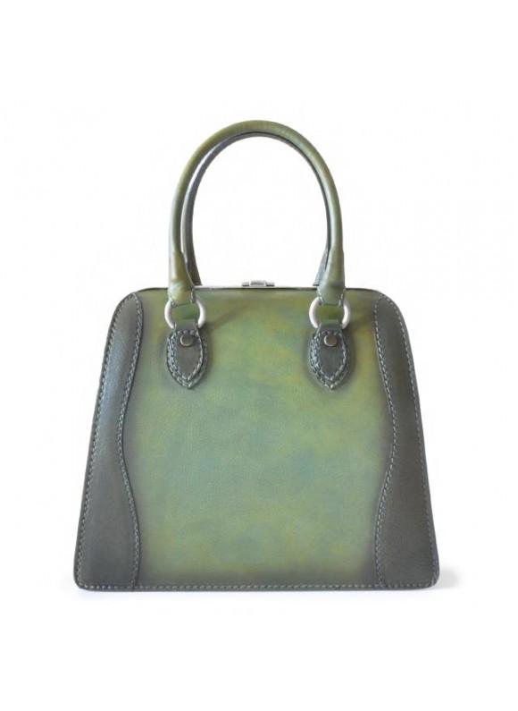 Pratesi Handbag Saturnia Big in cow leather - Bruce Dark Green