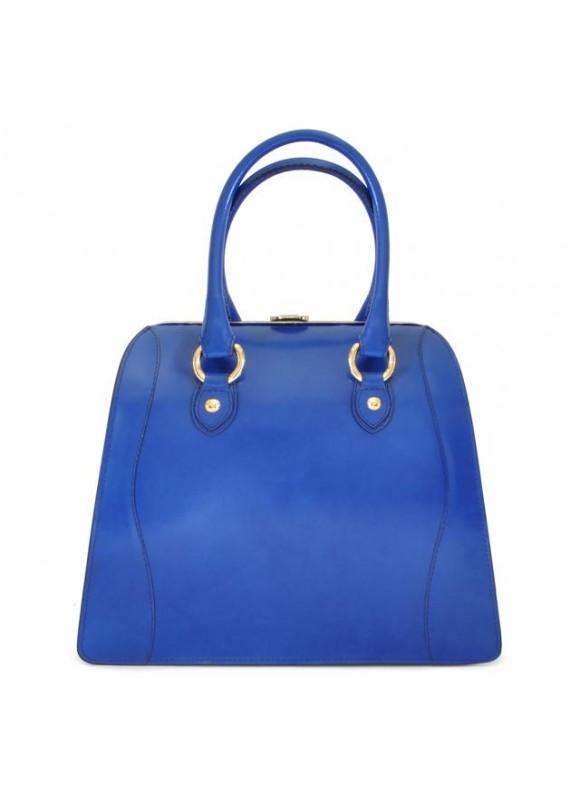 Pratesi Saturnia Big R Shoulder Bag in cow leather - Radica Electric Blue