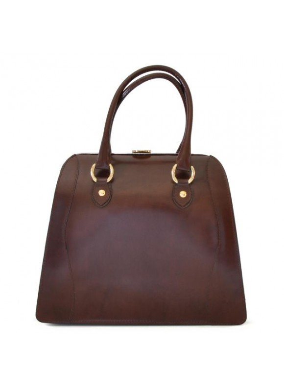 Pratesi Saturnia Big R Shoulder Bag in cow leather - Radica Coffee