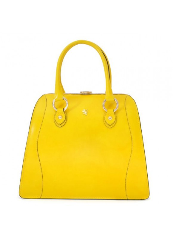 Pratesi Saturnia Big R Shoulder Bag in cow leather - Radica Yellow