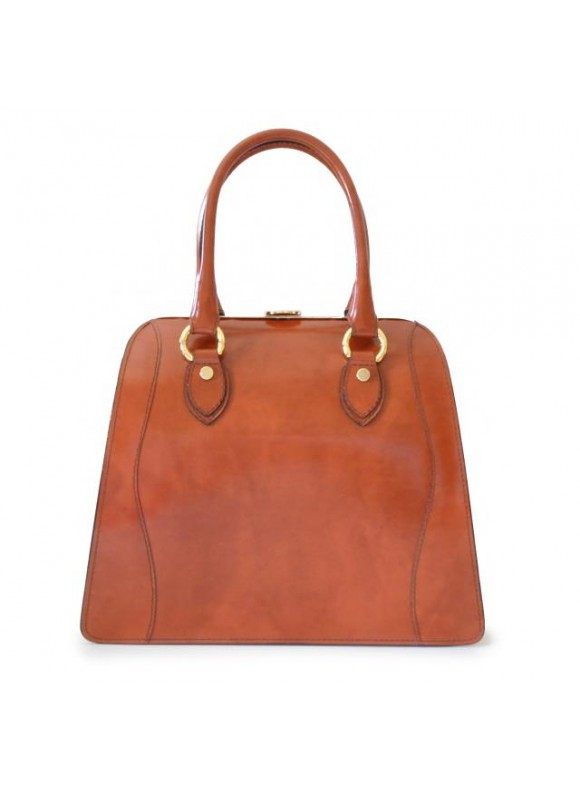 Pratesi Saturnia Big R Shoulder Bag in cow leather - Radica Brown