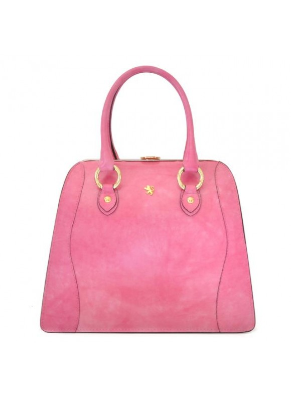 Pratesi Saturnia Big R Shoulder Bag in cow leather - Radica Pink