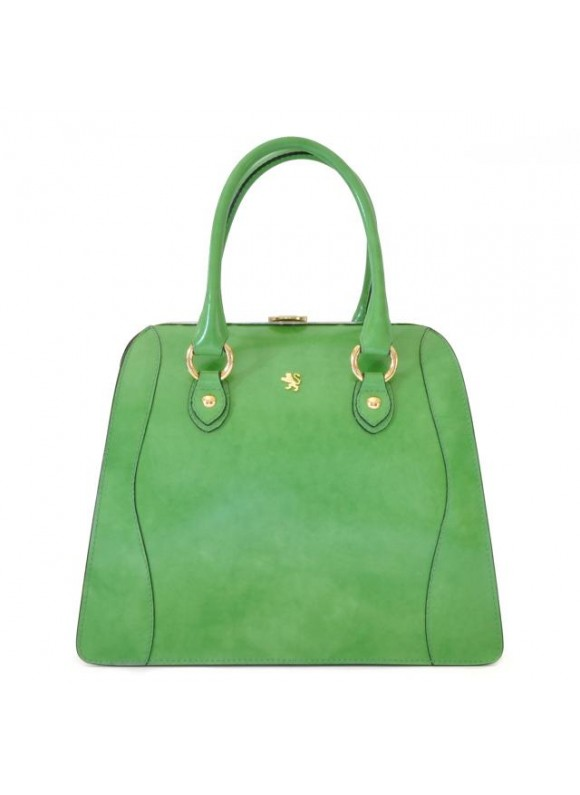 Pratesi Saturnia Big R Shoulder Bag in cow leather - Radica Green