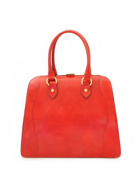Pratesi Saturnia Big R Shoulder Bag in cow leather - Radica Cherry