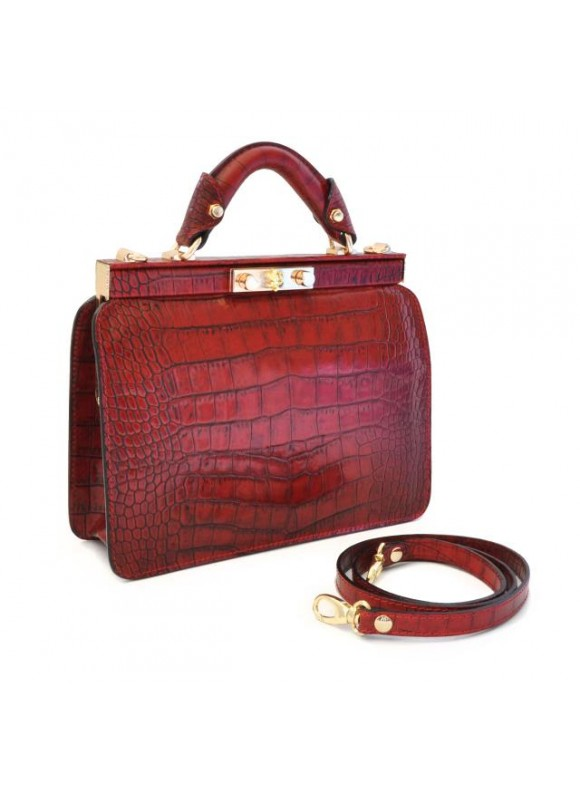 Pratesi Vittoria Colonna King Woman Bag in real leather - King Cherry