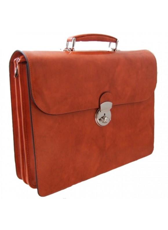 Pratesi Verrocchio PC Briefcase in cow leather - Radica Orange