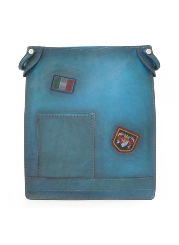 Pratesi Cross-Body Bag Bakem in cow leather - Bruce Blue