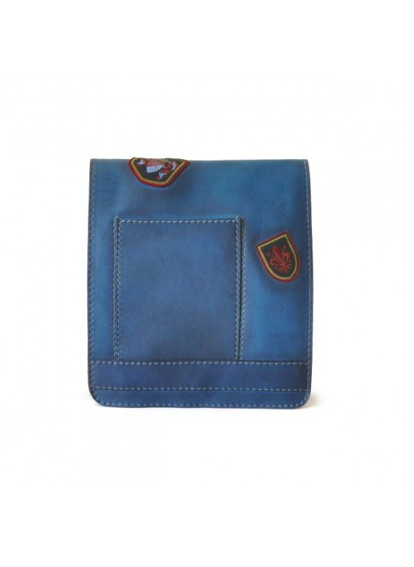 Pratesi Messanger Medium Cross-Body Bag in cow leather - Bruce Blue