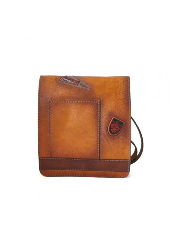 Pratesi Messanger Medium Cross-Body Bag in cow leather - Bruce Cognac