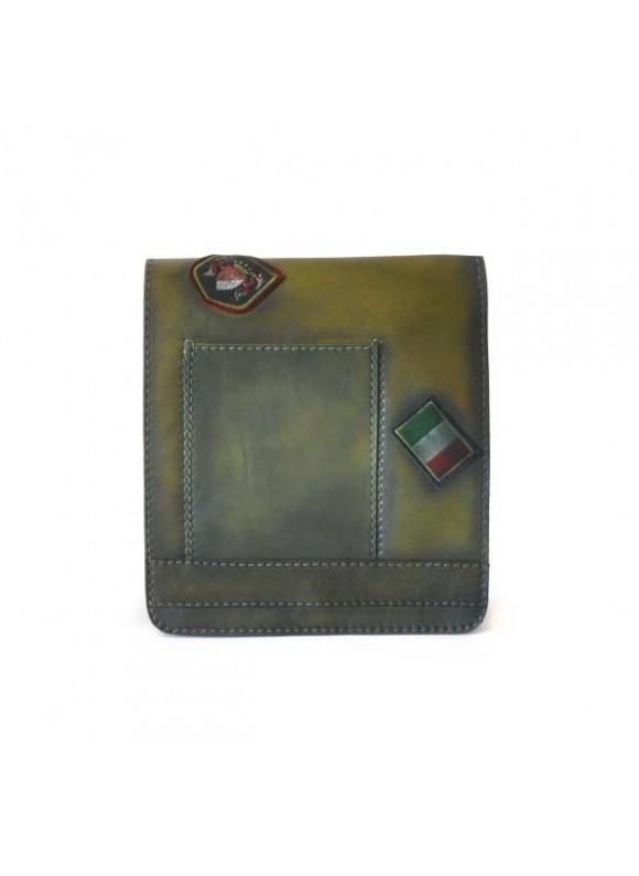 Pratesi Messanger Medium Cross-Body Bag in cow leather - Bruce Dark Green