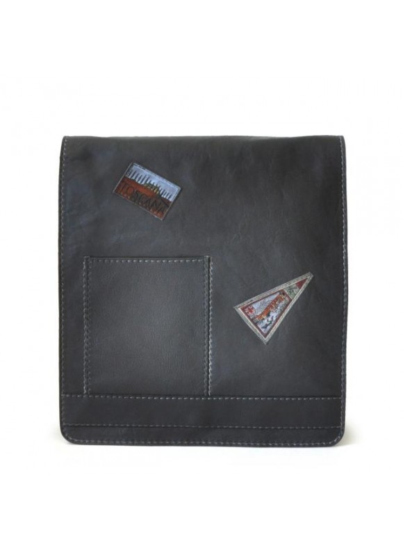 Pratesi Messanger Cross-Body Bag in cow leather - Bruce Black
