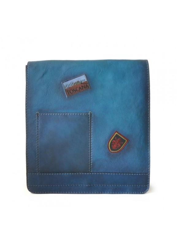 Pratesi Messanger Cross-Body Bag in cow leather - Bruce Blue