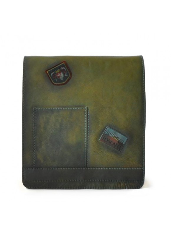 Pratesi Messanger Cross-Body Bag in cow leather - Bruce Dark Green