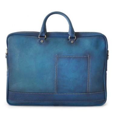 Pratesi Briefcase Cortona in cow leather - Bruce Blue