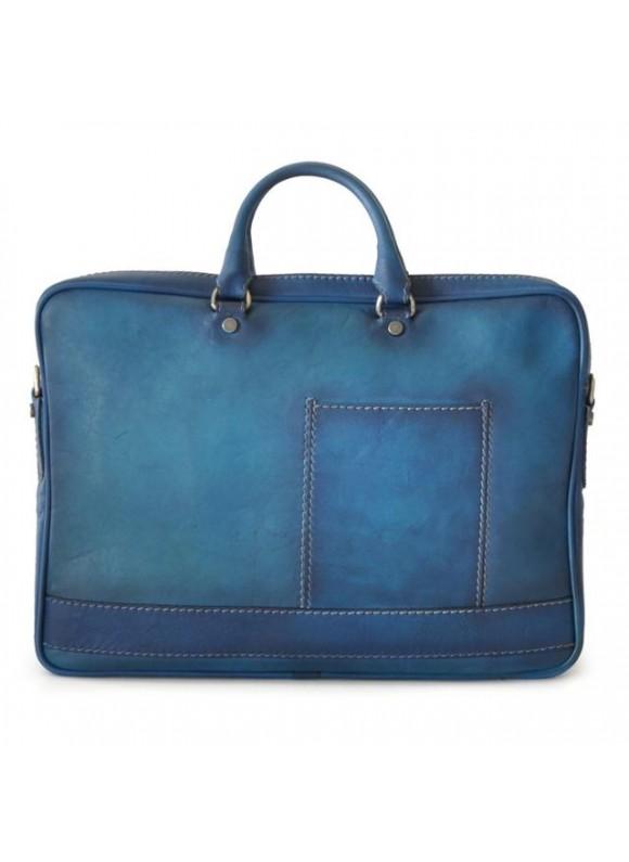 Pratesi Briefcase Cortona in cow leather - Bruce Blue