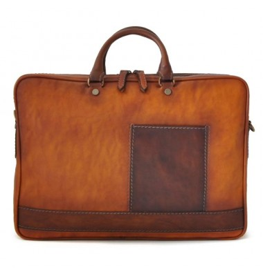 Pratesi Briefcase Cortona in cow leather - Bruce Cognac