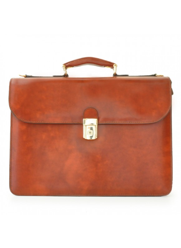 Pratesi Verrocchio PC Briefcase in cow leather - Radica Brown
