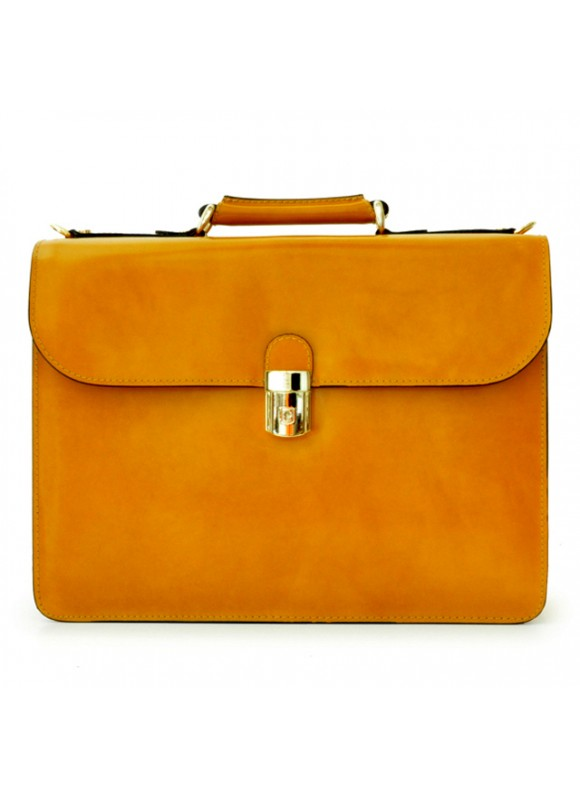 Pratesi Verrocchio PC Briefcase in cow leather - Radica Mustard