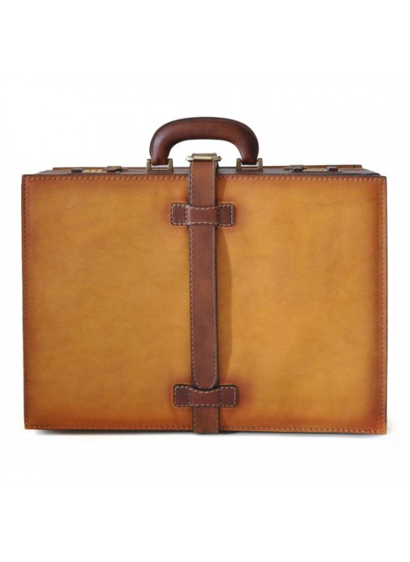 Pratesi Briefcase Taormina in cow leather - Bruce Cognac