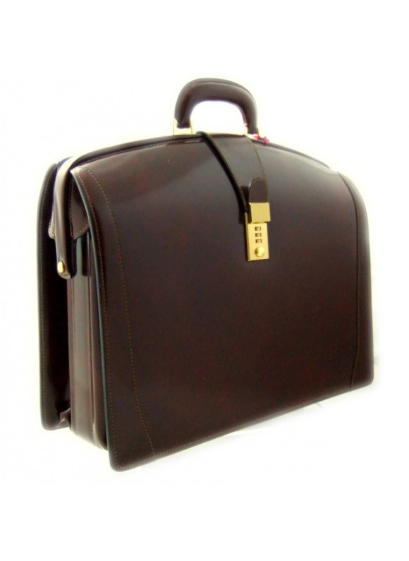Pratesi Brunelleschi Big Briefcase for Laptop in cow leather - Radica Coffee