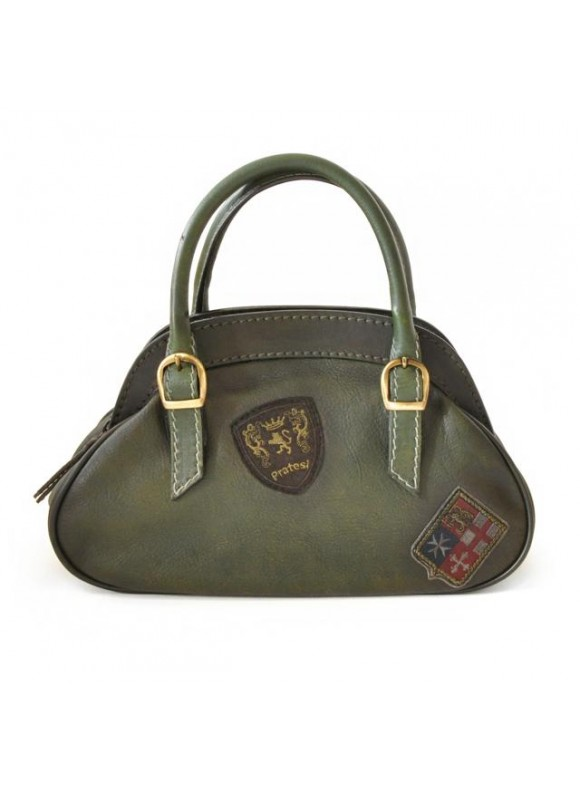Pratesi Handbag Giotto in cow leather - Bruce Dark Green