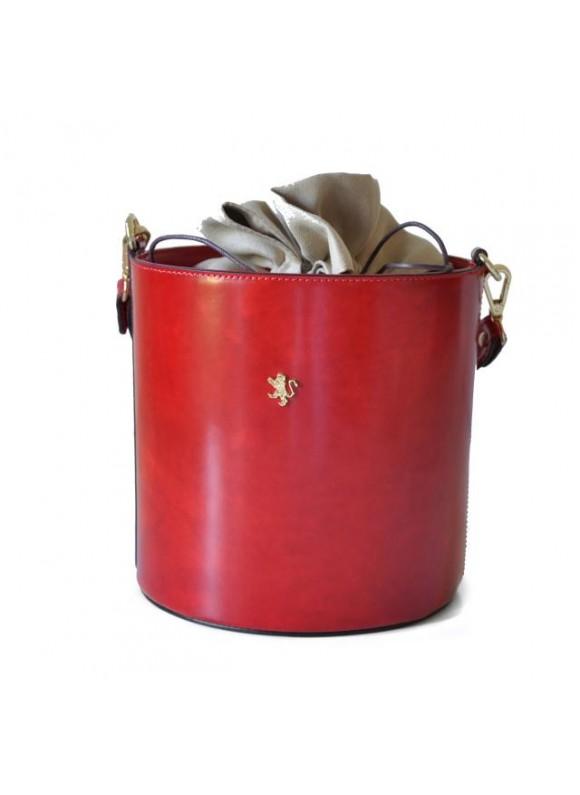 Pratesi Cross-Body Bag Secchiello in cow leather - Radica Cherry