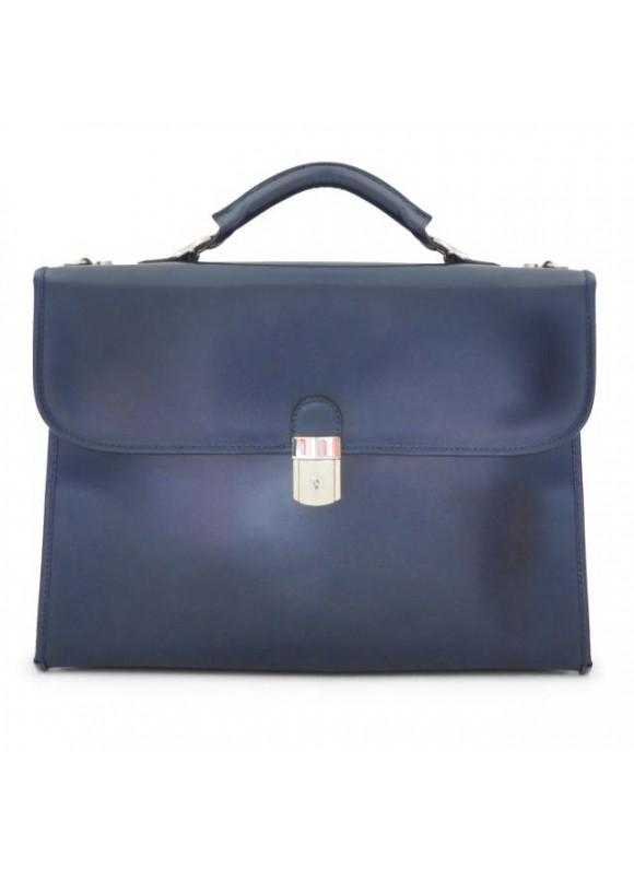 Pratesi Da Verrazzano Briefcase for Laptop in cow leather - Radica Blue