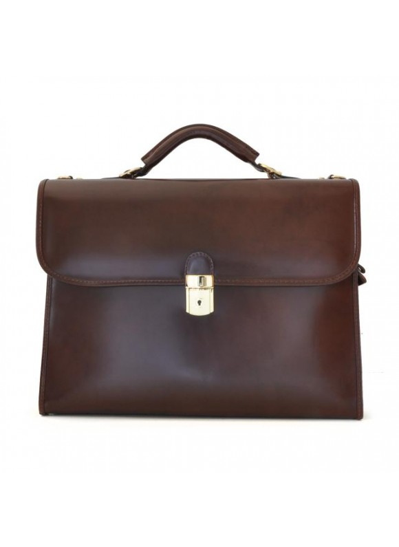 Pratesi Da Verrazzano Briefcase for Laptop in cow leather - Radica Coffee