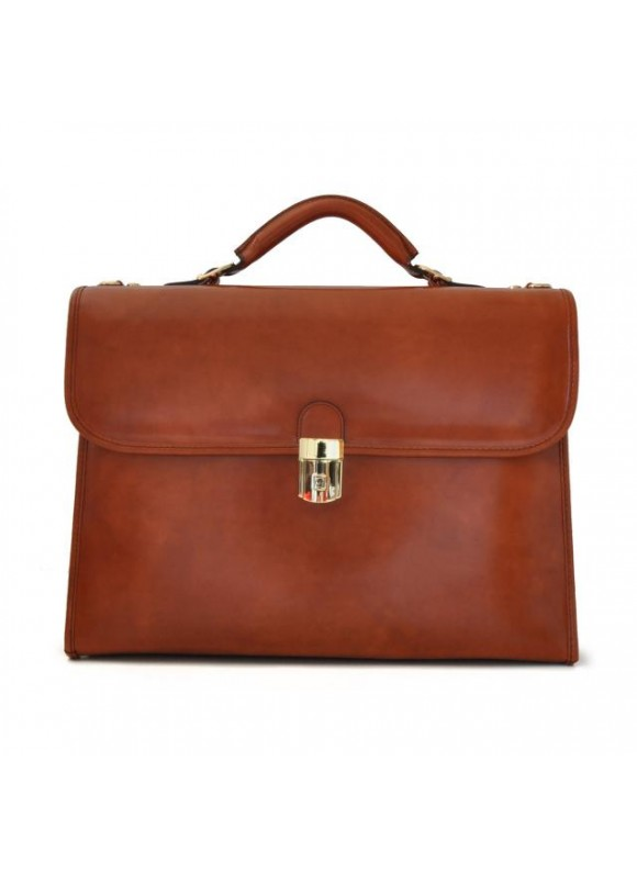 Pratesi Da Verrazzano Briefcase for Laptop in cow leather - Radica Brown